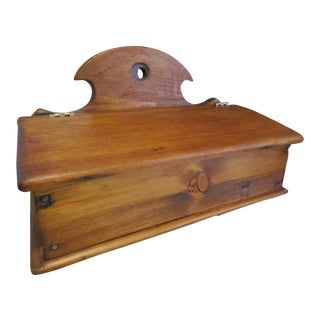 1800s Antique New England Primitive Handmade Slant Lid Pine Wood Candle Box For Sale