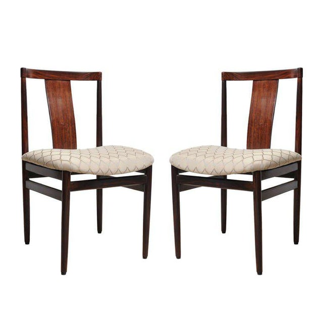 Rosewood Mid-Century Modern Side Chairs With Upholstered Seat - a Pair For Sale - Image 10 of 10