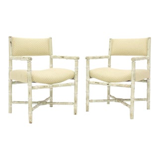Pair of Distressed Finish Faux Bamboo Capitan Chairs With X Bases For Sale