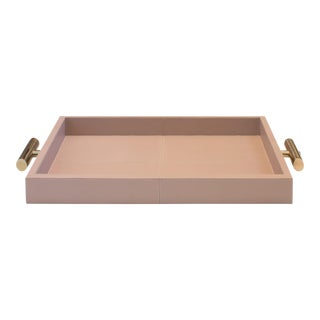 Contemporary Derby Blush Leather Tray For Sale