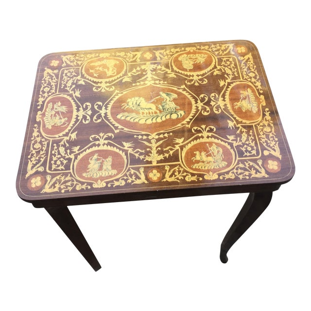 Vintage Italian Inlaid Table Swiss Movement Musical - Image 1 of 5