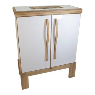 Contemporary Mosaic Top Sculpted Handles Sideboard For Sale