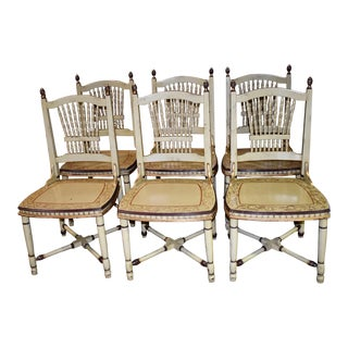 1980s Vintage Distressed Tuscan Style Painted Decorated Chairs- Set of 6 For Sale