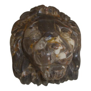 Carved Marble Lion Head Architectural Detail Antique Sculpture or Paperweight For Sale