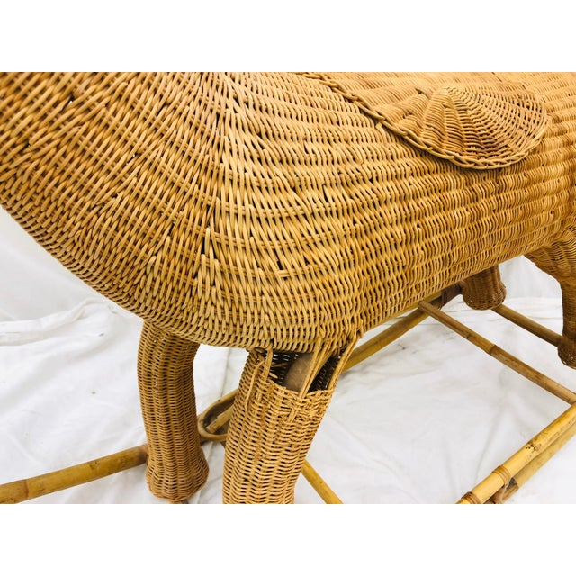 Brown Vintage Wicker & Rattan Rocking Horse For Sale - Image 8 of 12