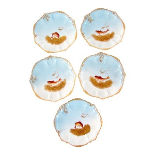 Antique French Limoges Baby Blue & Gold Gilded Fish Plates - Set of 5 For Sale