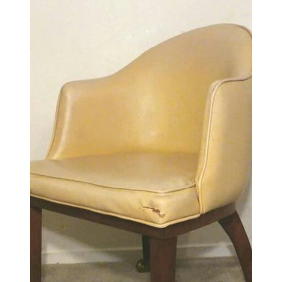 Danish Modern Mid Century Danish Modern Teak Yellow Accent Club Chair on Brass Casters For Sale - Image 3 of 6