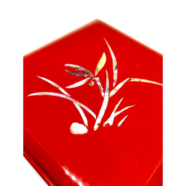 Vintage Red Japanese Lacquered & Mother of Pearl Box For Sale - Image 4 of 13
