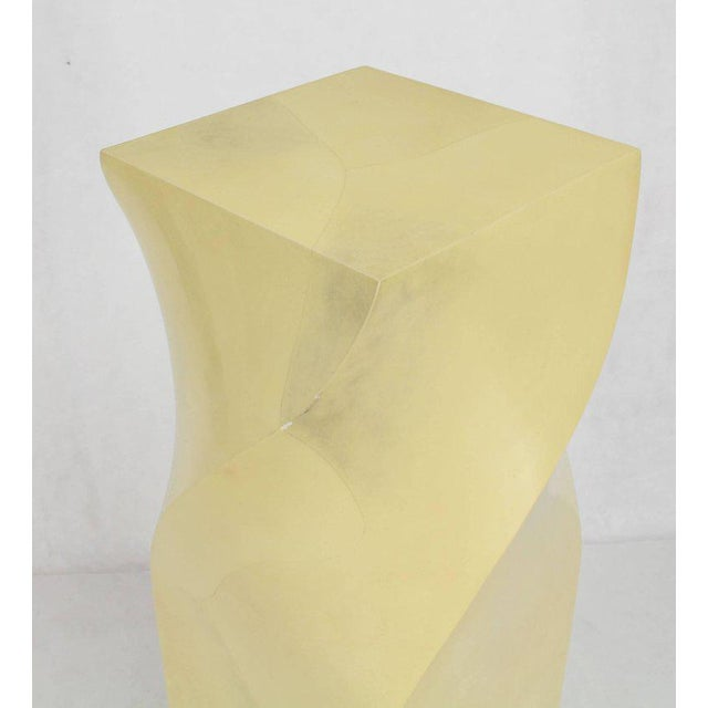 Twisted 14x14 Square Pattern Faux Goatskin Finish Modern Pedestal Stand For Sale - Image 4 of 11