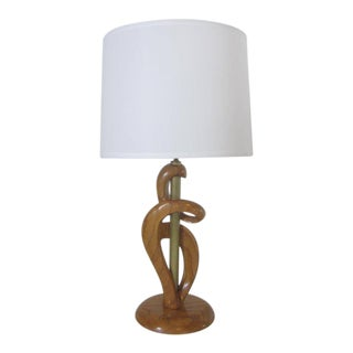 Heifetz Sculptural Wood and Brass Table Lamp For Sale