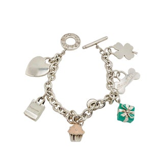 Tiffany & Co. Sterling Charm Bracelet With 6 Charms For Sale