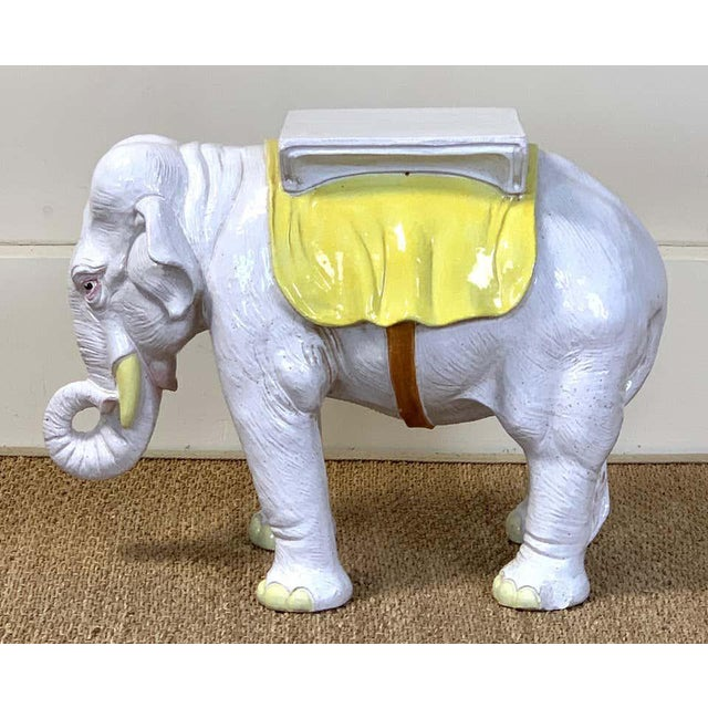 Italian Italian Glazed Ceramic Elephant Garden Seat For Sale - Image 3 of 13