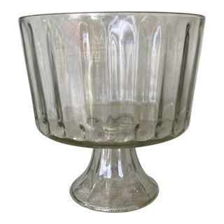 Vintage Glass Pedestal Bowl Compote Ribbed Glass Planter For Sale