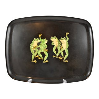 Mid-Century Couroc Dancing Frogs Serving Tray For Sale