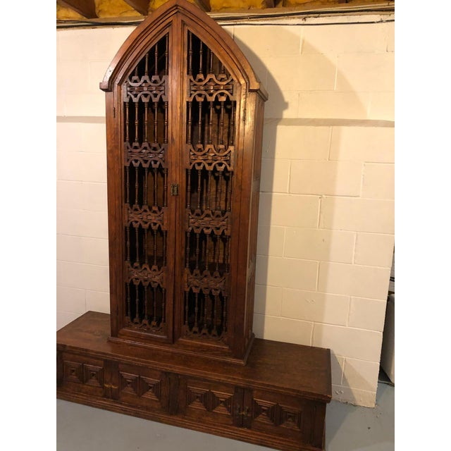 Brown Magnificent Hand Carved Mahogany Gothic Style Bookshelf Cabinet For Sale - Image 8 of 11