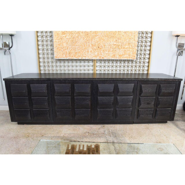 Industrial Monumental Ebonized Four-Door Credenza or Buffet by Jamie Herzlinger For Sale - Image 3 of 9