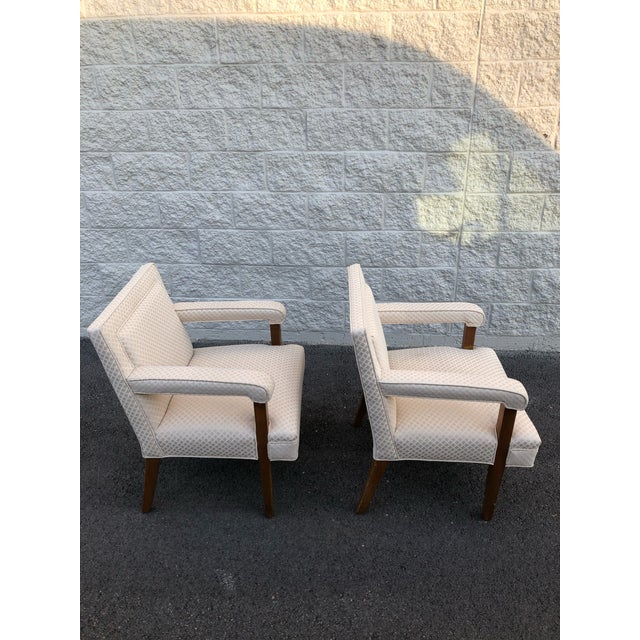 These lovely mid century chairs are in excellent condition, comfortable, clean lines and ready to use as is or reupholster...