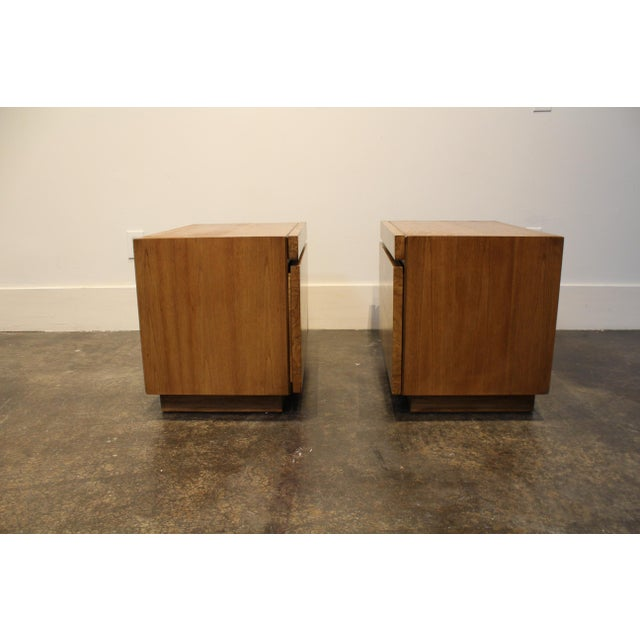 1970s Lane Furniture Milo Baughman Style Mid Century Modern Burl Wood Nightstands a Pair For Sale - Image 5 of 9