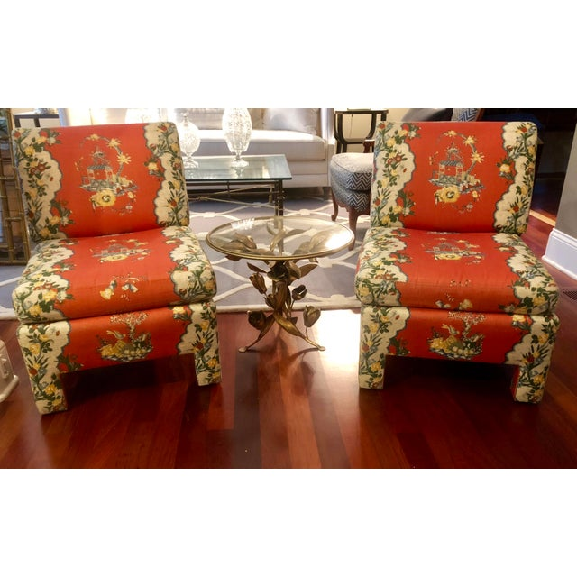 Pair of upholstered accent chairs in a lovely asian theme fabric. Great size for the living room, bedroom, study or...