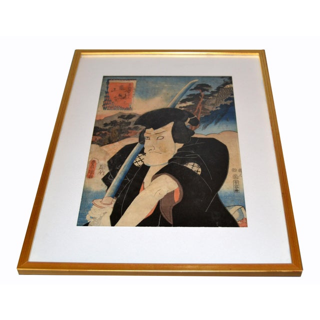 Original Utagawa Toyokuni III Woodblock Print on Parchment Paper in gilt Frame. Marked by Artist: Utagawa Toyokuni III...