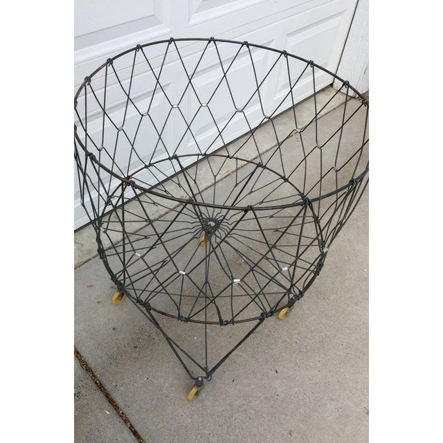 Allied Maker Vintage Industrial Collapsible Wire Laundry Basket on Casters For Sale - Image 4 of 13