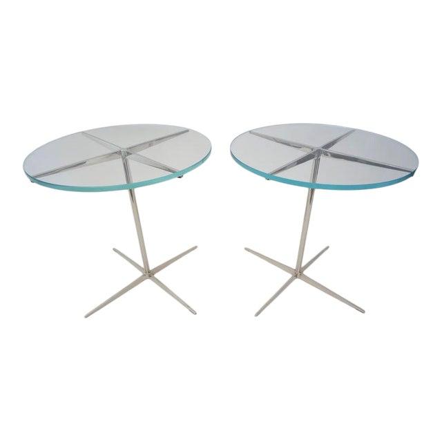Vintage Drinks or Side Tables Glass on Polished Steel Pedestal - a Pair For Sale