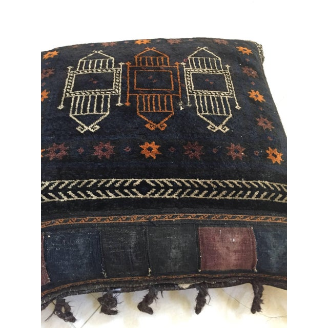 1880s Handwoven Afghan Baluch Saddle Tribal Bag, Large Floor Pillow For Sale In Los Angeles - Image 6 of 13