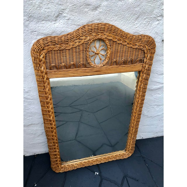 Cottage Natural Wicker Lexington Mirror For Sale - Image 3 of 7