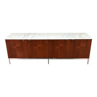 Florence Knoll Mid-Century Modern Credenza With Carrara Marble Top