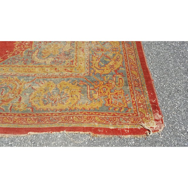 Early 19th Century Antique Turkish Oushak Rug - 9′6″ × 13′4″ For Sale - Image 9 of 12