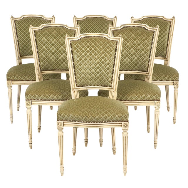 Antique French Louis XVI Style Sage Green Dining Chairs - Set of 6