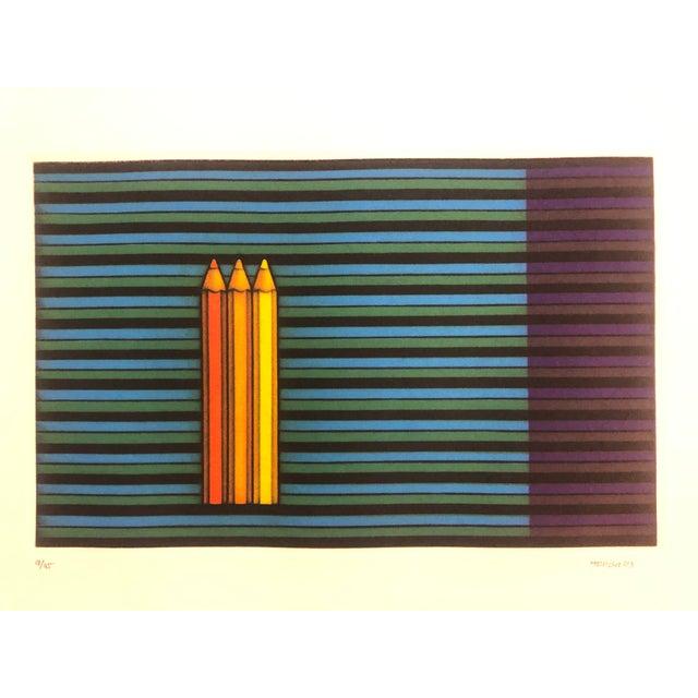 "Kazuhisa Honda Color Mezzotint ""Three Pencils,"" 1983 For Sale - Image 6 of 6"
