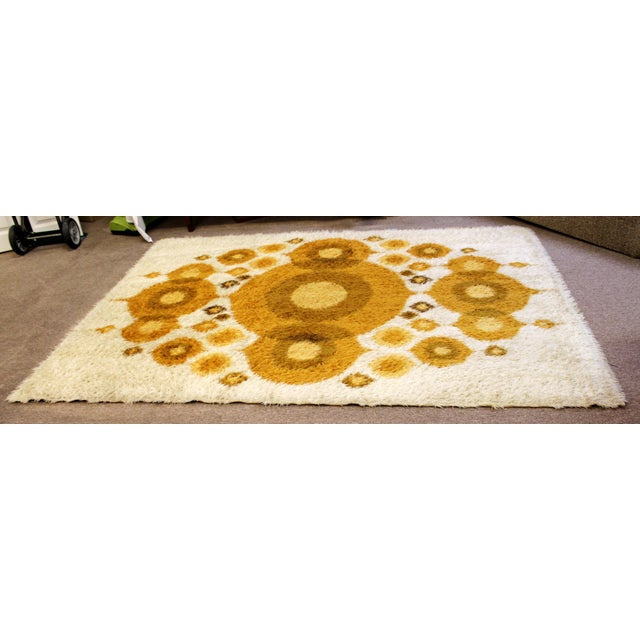 For your consideration is a fantastic, original 1960s, Danish Rya area rug or carpet, with an orange circle design. In...