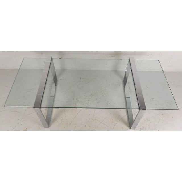 Milo Baughman Style Mid-Century Modern Chrome Coffee Table For Sale - Image 4 of 7