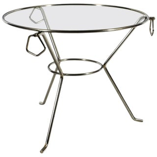 1950´s Small Round Tripod Table, Nickel Plated Brass, Glass, Rings, France For Sale