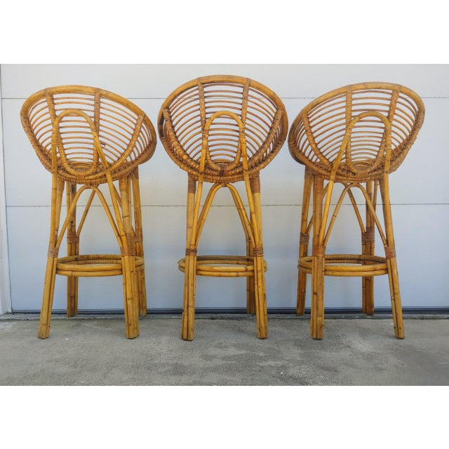 Modern 1950s Albini Style Rattan Bar Stools - Set of 3 For Sale - Image 9 of 10