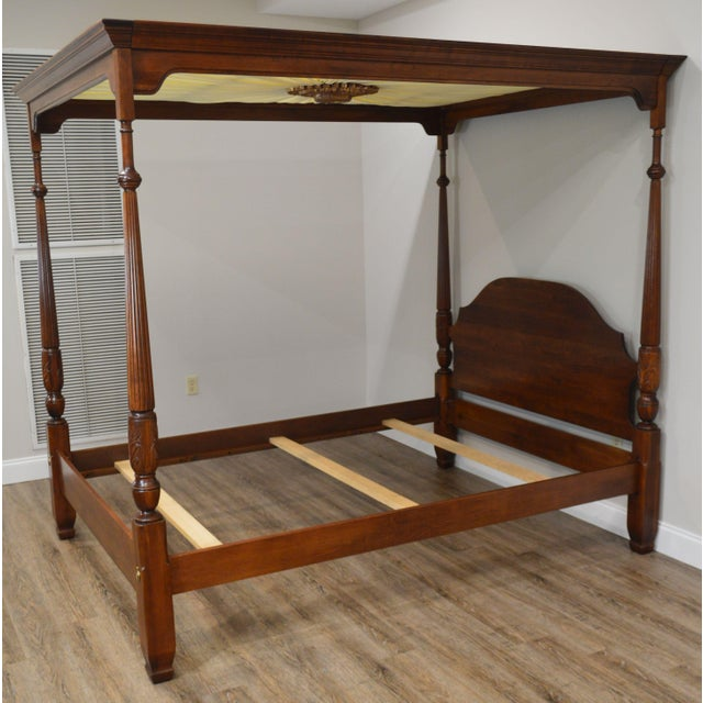 Harden Cherry Queen Size Poster Bed With Custom Canopy For Sale - Image 11 of 13