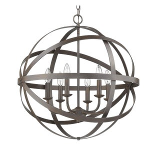 The Orbit 6 Light Chandelier, Burnt Sienna For Sale