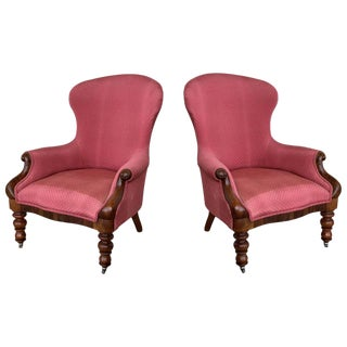 19th Century Pair of Louis XV Bergère Armchairs in Red Upholstered With Wheels For Sale