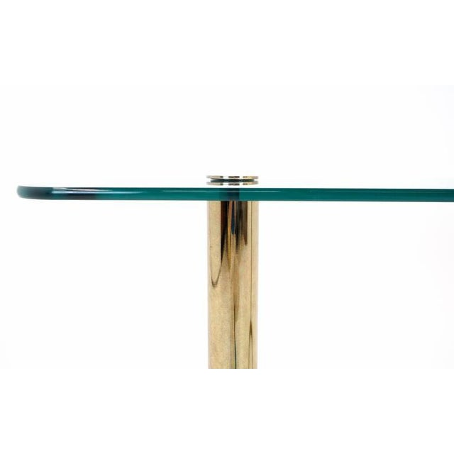 1970s Pace Collection Glass Console/Sofa Table, Brass Base Nice Patina For Sale - Image 5 of 7