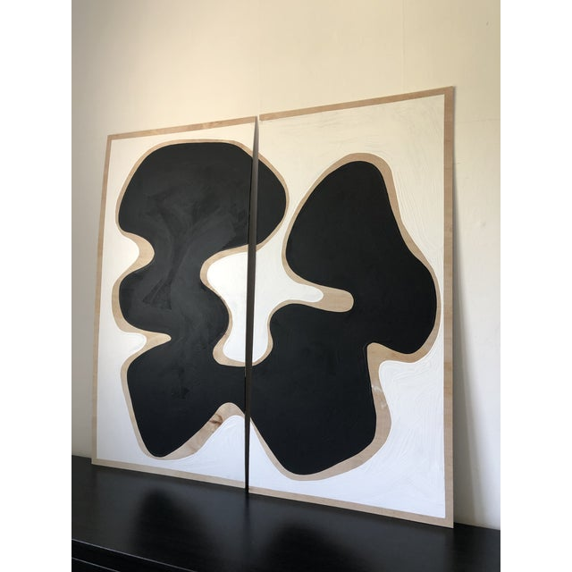 Oversized Raw Wood Abstract Acrylic Diptych Painting For Sale - Image 4 of 5