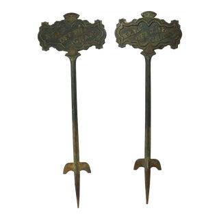 Late 19th Century Antique Cast Iron Keep of the Grass Signs- A Pair For Sale