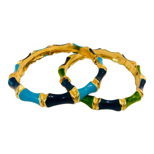1980s Bamboo Shaped Enameled Bracelets - a Pair For Sale