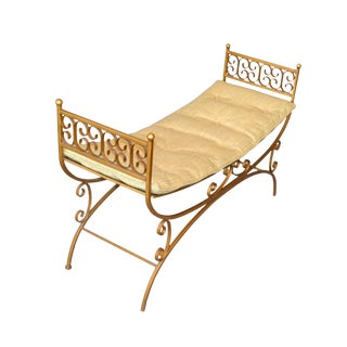 Golden Wrought Iron Bench With Cushions For Sale