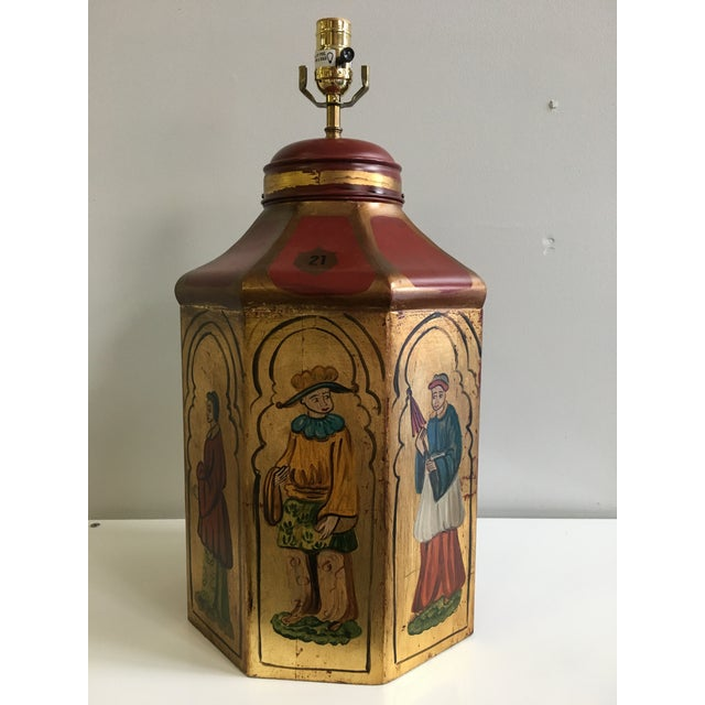 Vintage Tole Octogan Hand Painted Lamp - Image 2 of 11