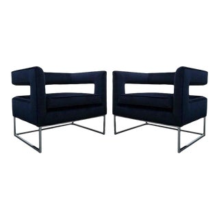 Minimalist Floating Back Cube Chairs in Blue Velvet - A Pair For Sale