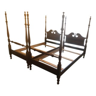 Mahogany Twin Four Post Beds - a Pair For Sale
