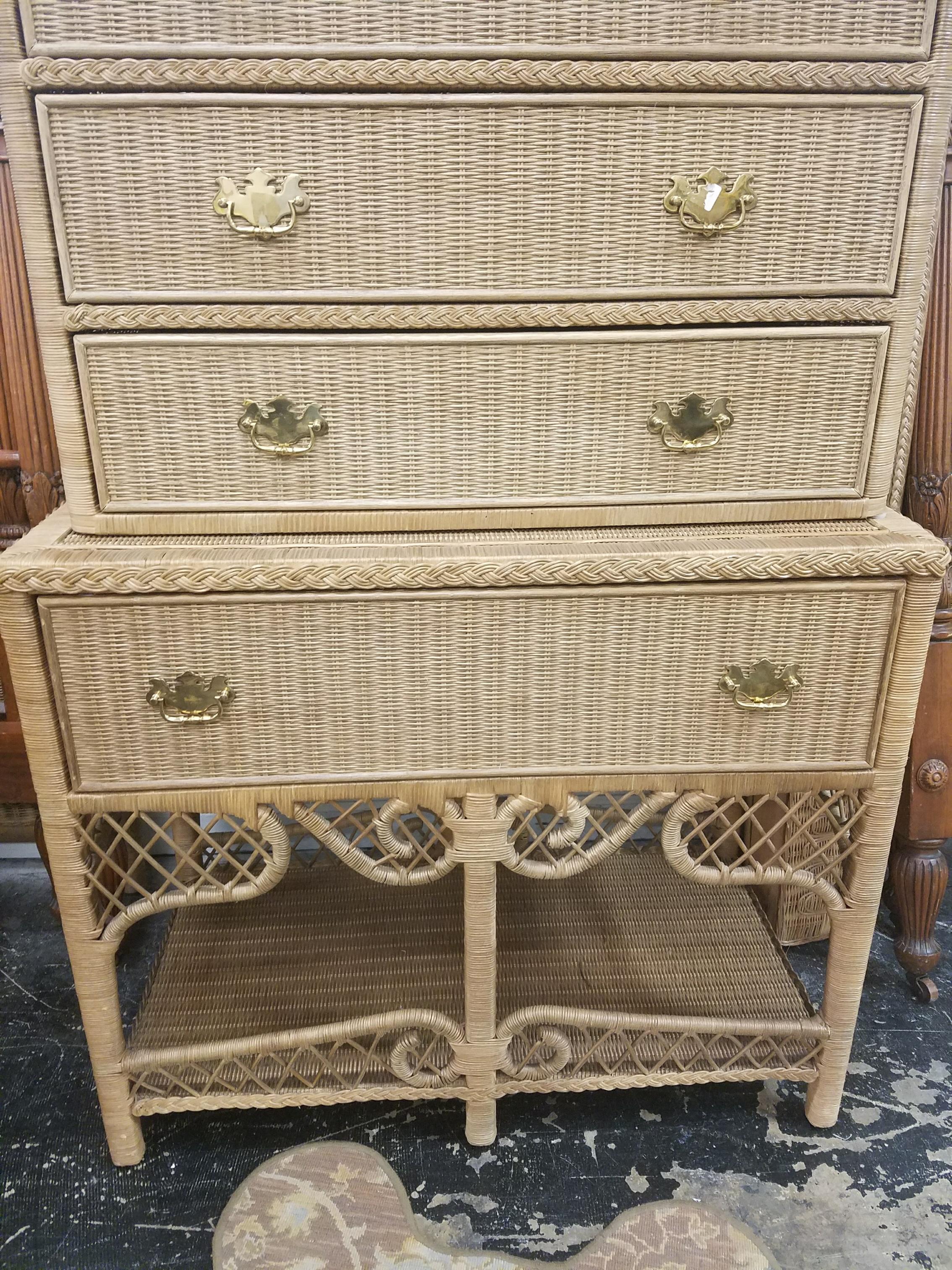 ralph lauren vintage furniture Vintage Ralph Lauren Safari Wicker Highboy   Chairish ralph lauren vintage furniture