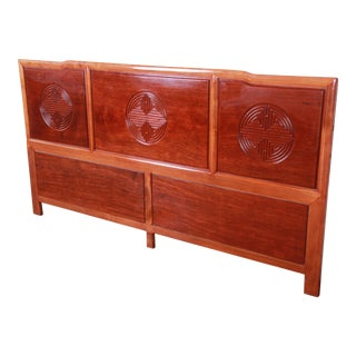 Hollywood Regency Chinoiserie Carved Mahogany King Size Headboard For Sale