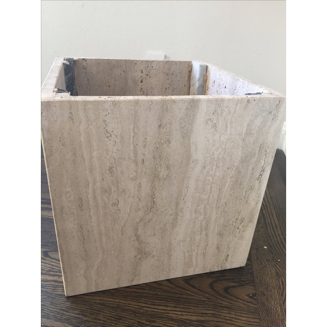 White Italian Travertine Marble Coffee Table For Sale - Image 8 of 9